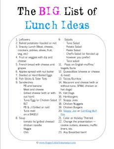 Big Lunch Idea List