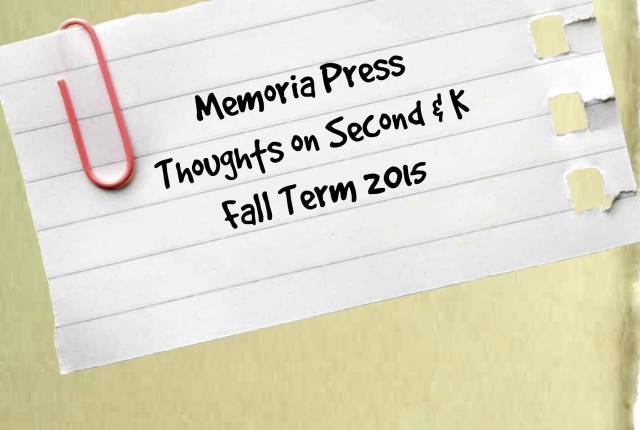Memoria Press in a Box Fall Term Thoughts Second Kindergarten