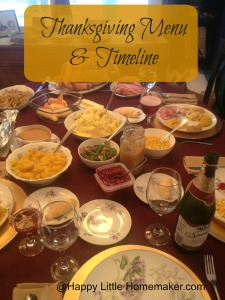 Thanksgiving Menu and Timeline