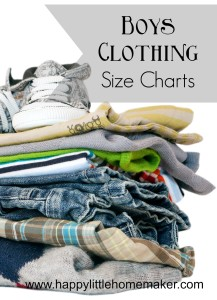 boys clothing size charts