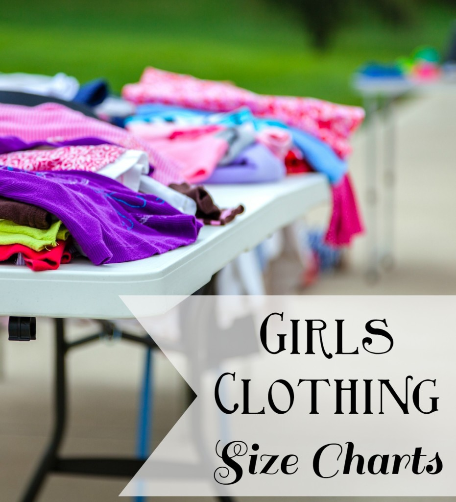 girls clothing size charts