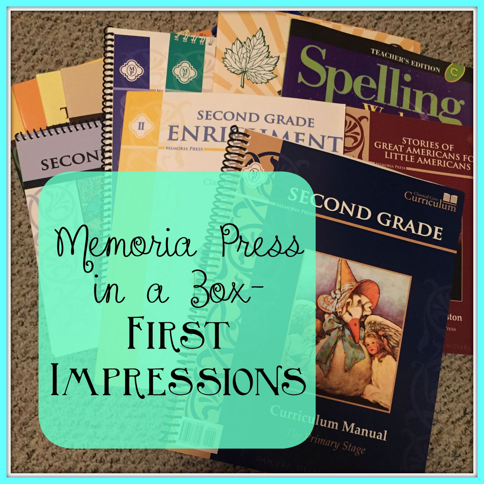 memoria press boxed curriculum impressions - second and kindergarten