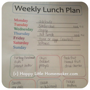 weekly lunch planning form