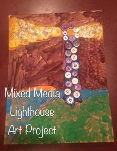 mixed media lighthouse art michigan state study