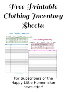 printable clothing inventory sheets